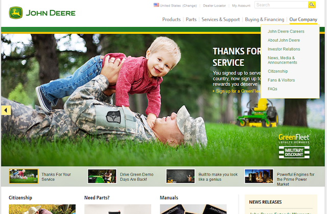 John Deere Website Navigation