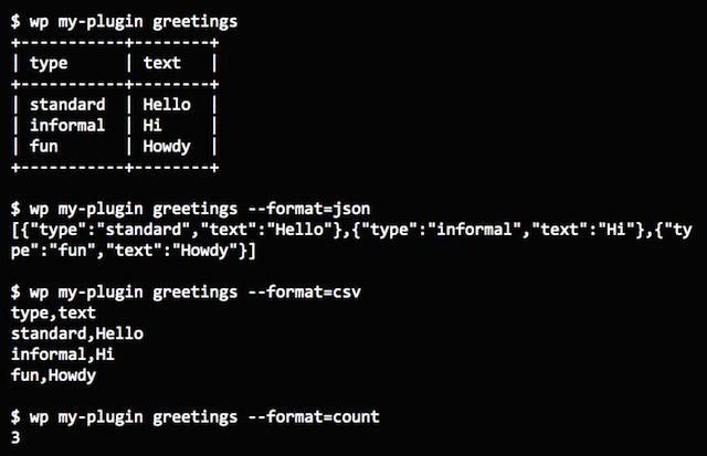 WP-CLI Format Arrays Terminal