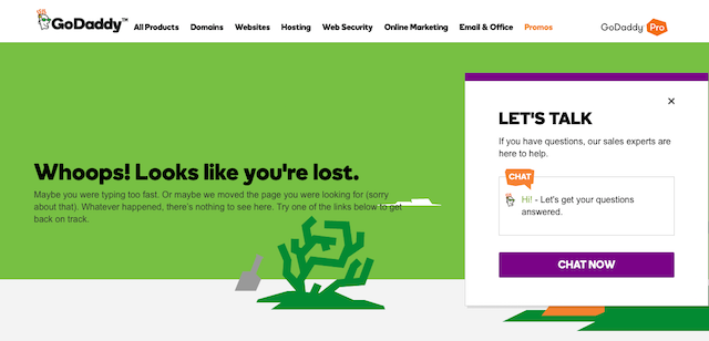 GoDaddy 404 error page