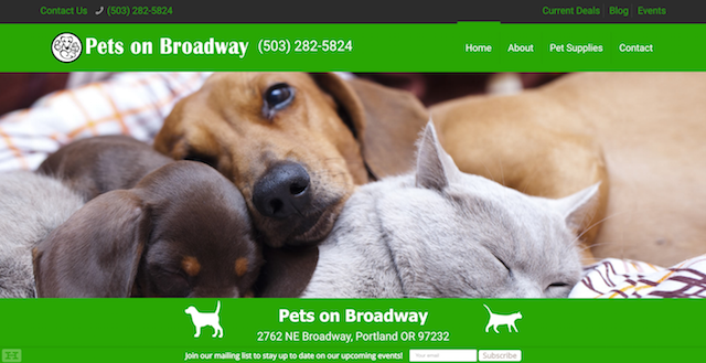 Pets on Broadway Website