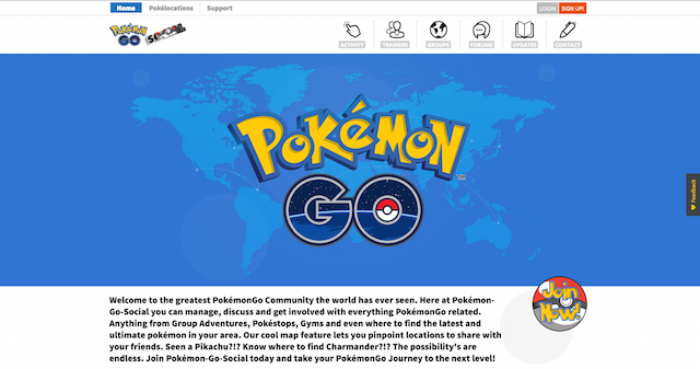 Pokemon Go Social Website