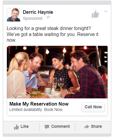 Restaurant Marketing Facebook Steak Ad