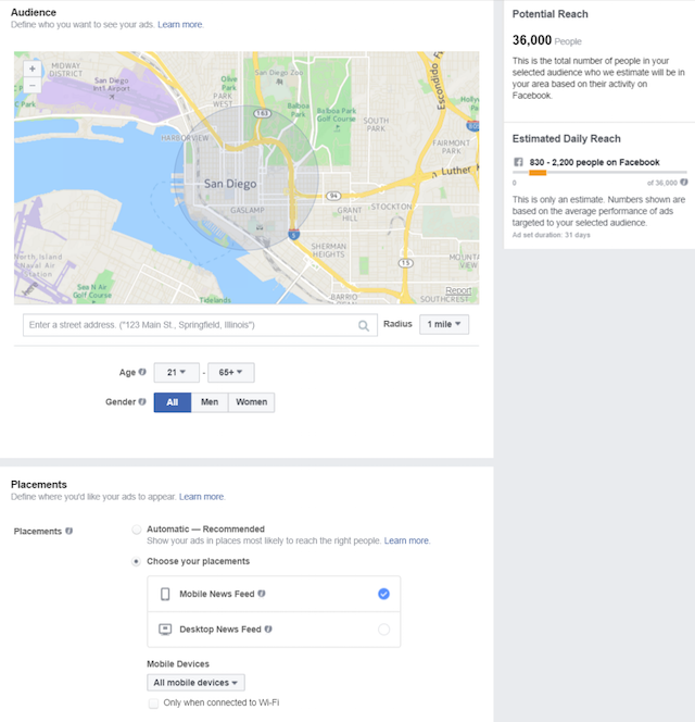 Facebook Marketing Set Radius