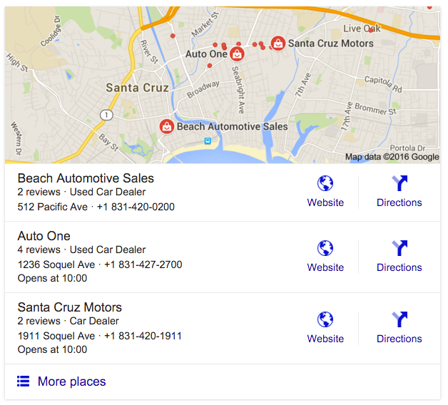 website maps google SERP