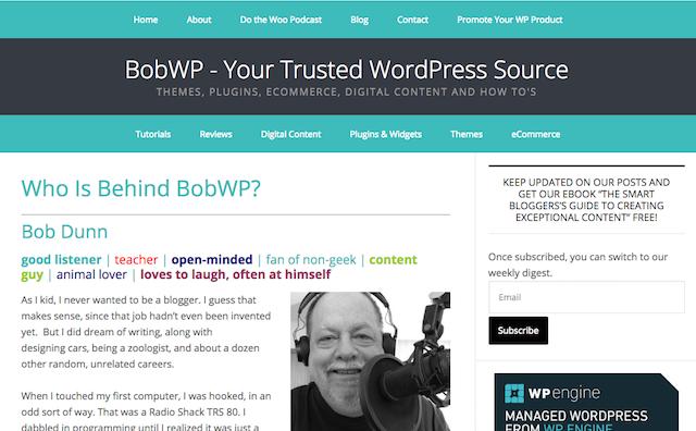 BobWP About Me Page