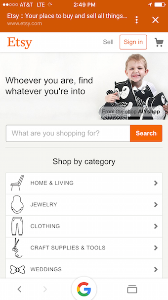 etsy mobile site