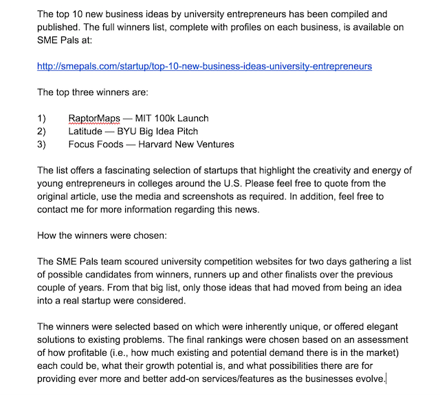 Small Business Blog Sample Press Release