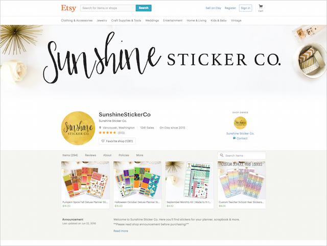 Sunshine Sticker Co. Etsy Shop