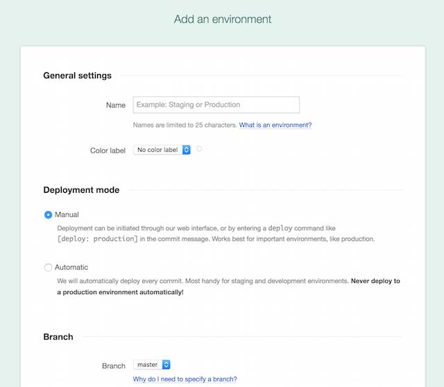 Add Environment in DeployBot