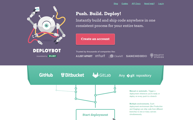 DeployBot Website Account Creation Page