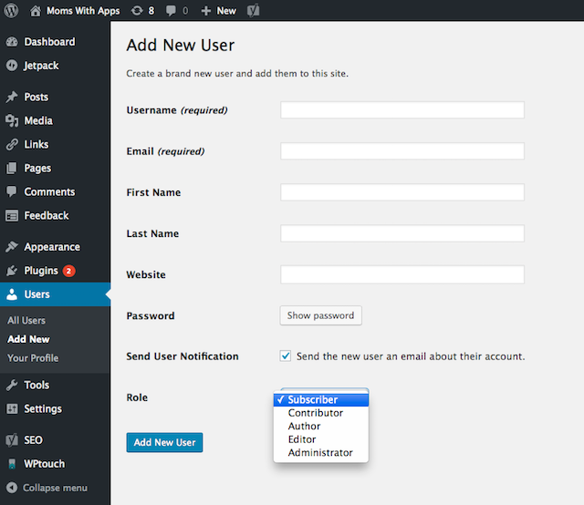 WordPress A New User Screen With Highlight on User Roles