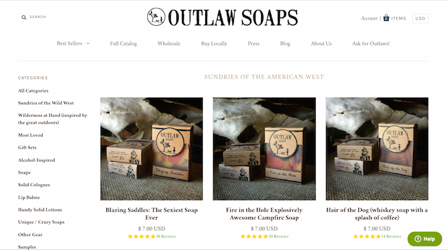 Business Resources Outlaw Soaps Shopify
