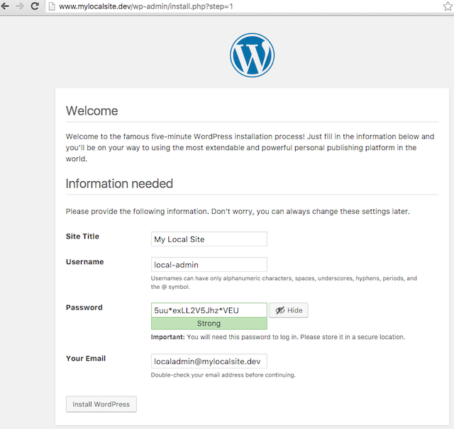 DesktopServer WordPress Info