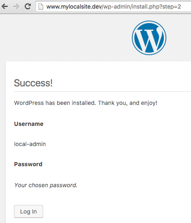 DesktopServer WordPress Success