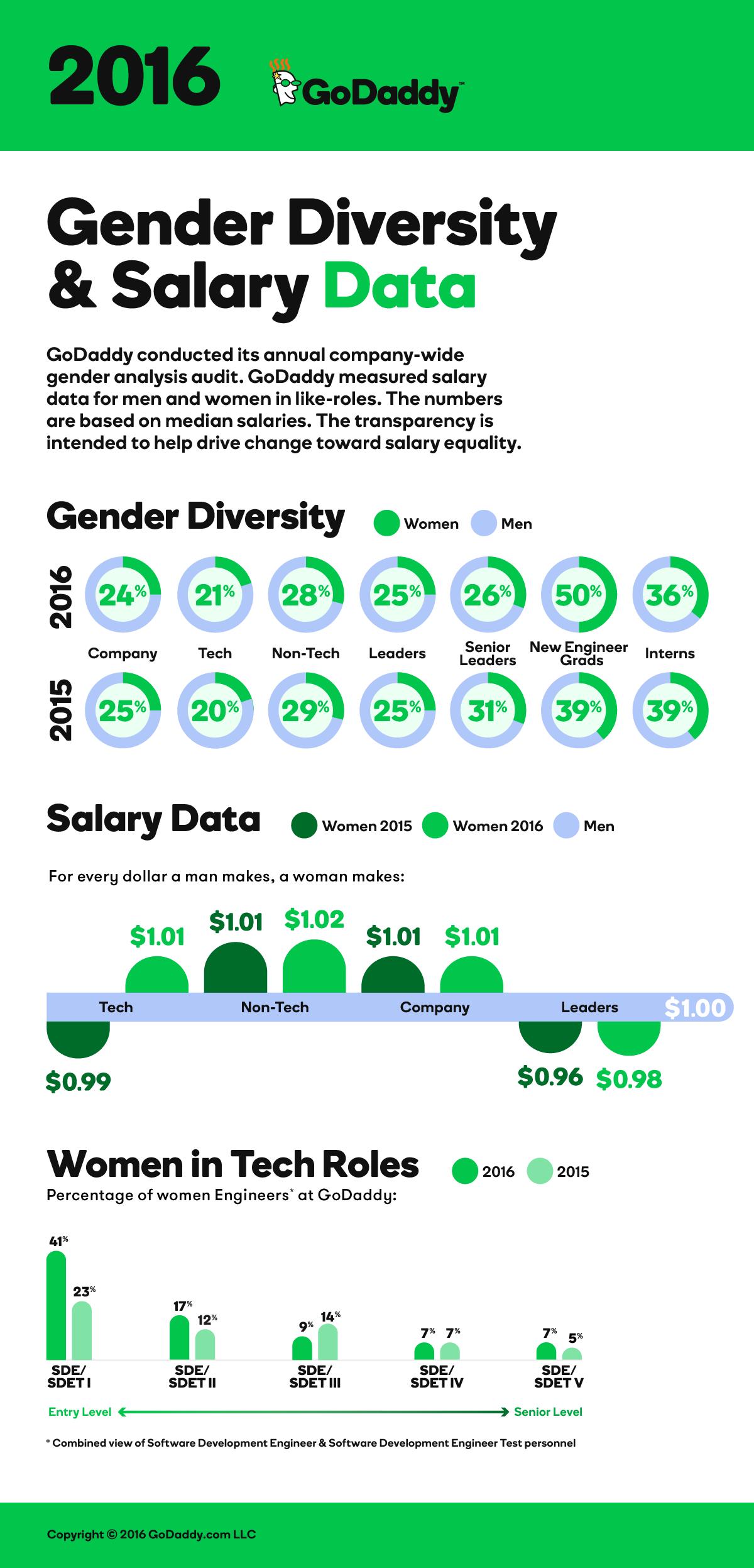 GoDaddy Gender Diversity Salary Data Infographic