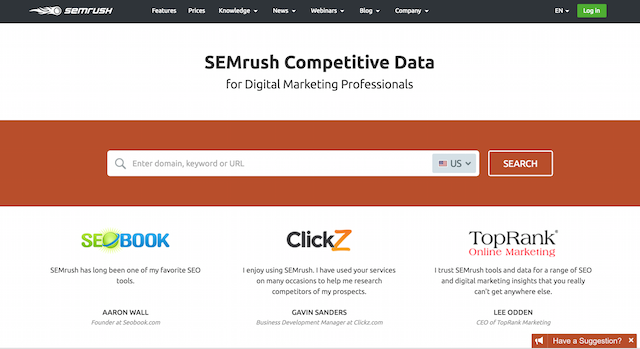 Google Rankings SEMrush