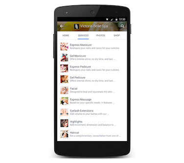 Facebook Services Section Mobile