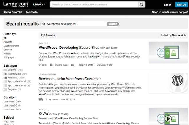 Desarrollo de Habilidades de WordPress Lynda.com