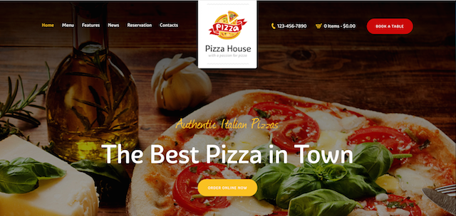 Pizza House Food Delivery Website WordPress Theme