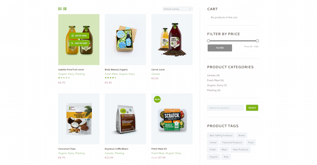 Food Delivery Website Organic Store WooCommerce
