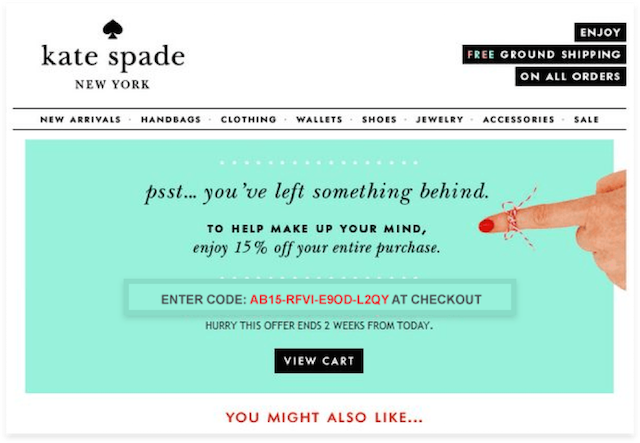 Abandoned Cart Email Kate Spade Checkout