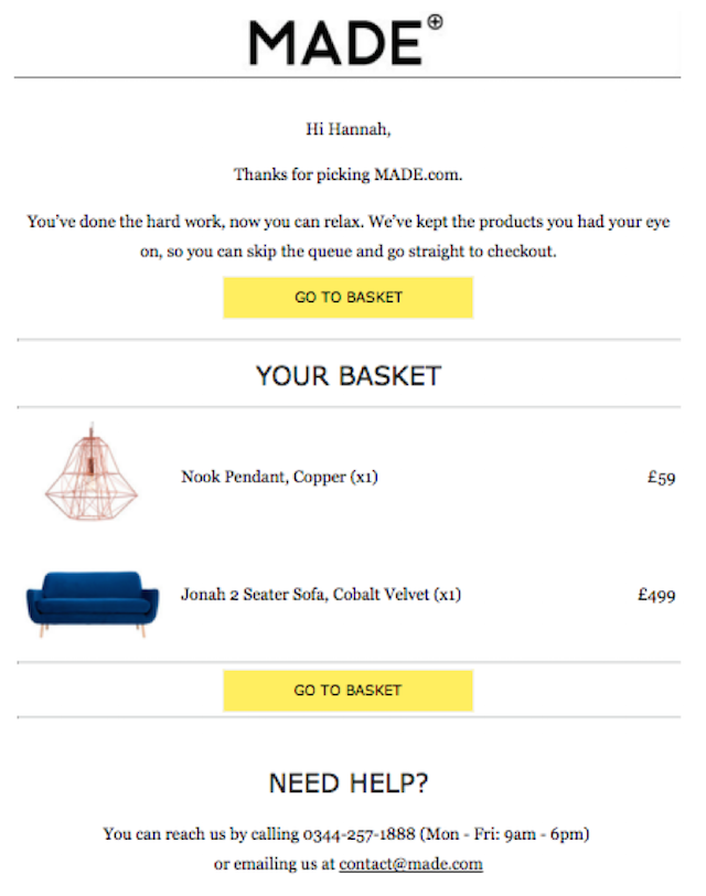 Abandoned Cart Email Made Support Email