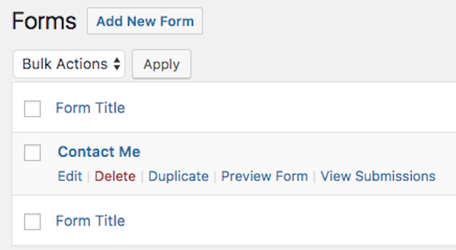 Ninja Forms WordPress Edit