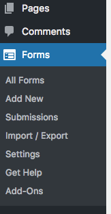 Ninja Forms WordPress Menu