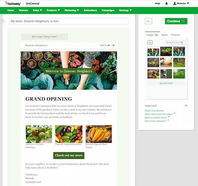 godaddy gocentral email marketing images
