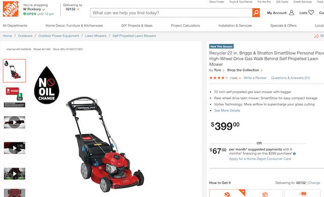 Home Depot product description for law mower