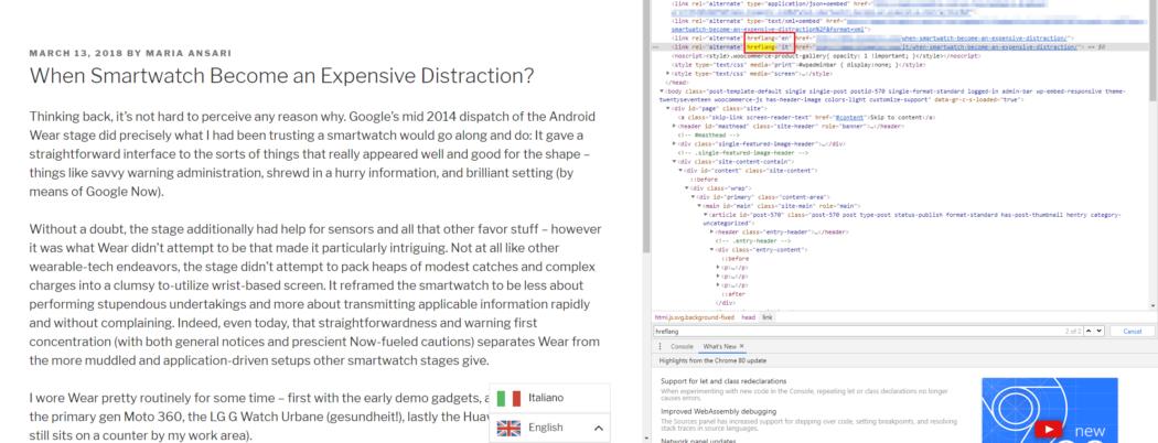 Screenshot of hreflang tags in source code