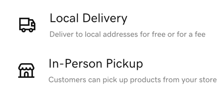 Screenshot showing Local Delivery and In-Person Pickup options