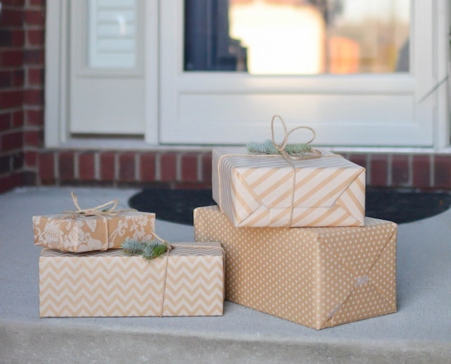 Holiday packages sitting on doorstep