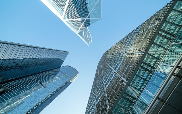 View of skyscrapers from the ground looking up