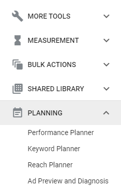 Example of planning options in Google Keyword Planner