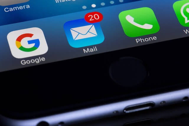 Email and phone apps on a smartphone