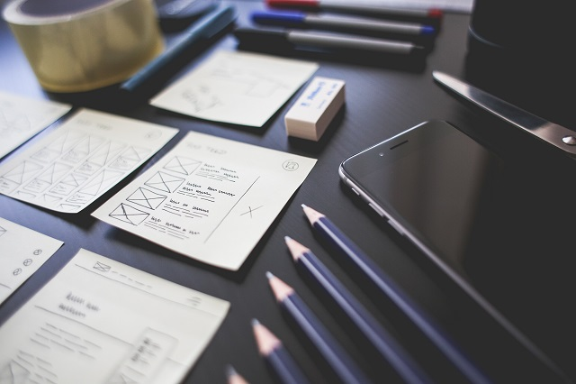 Papers and pencils on a desk