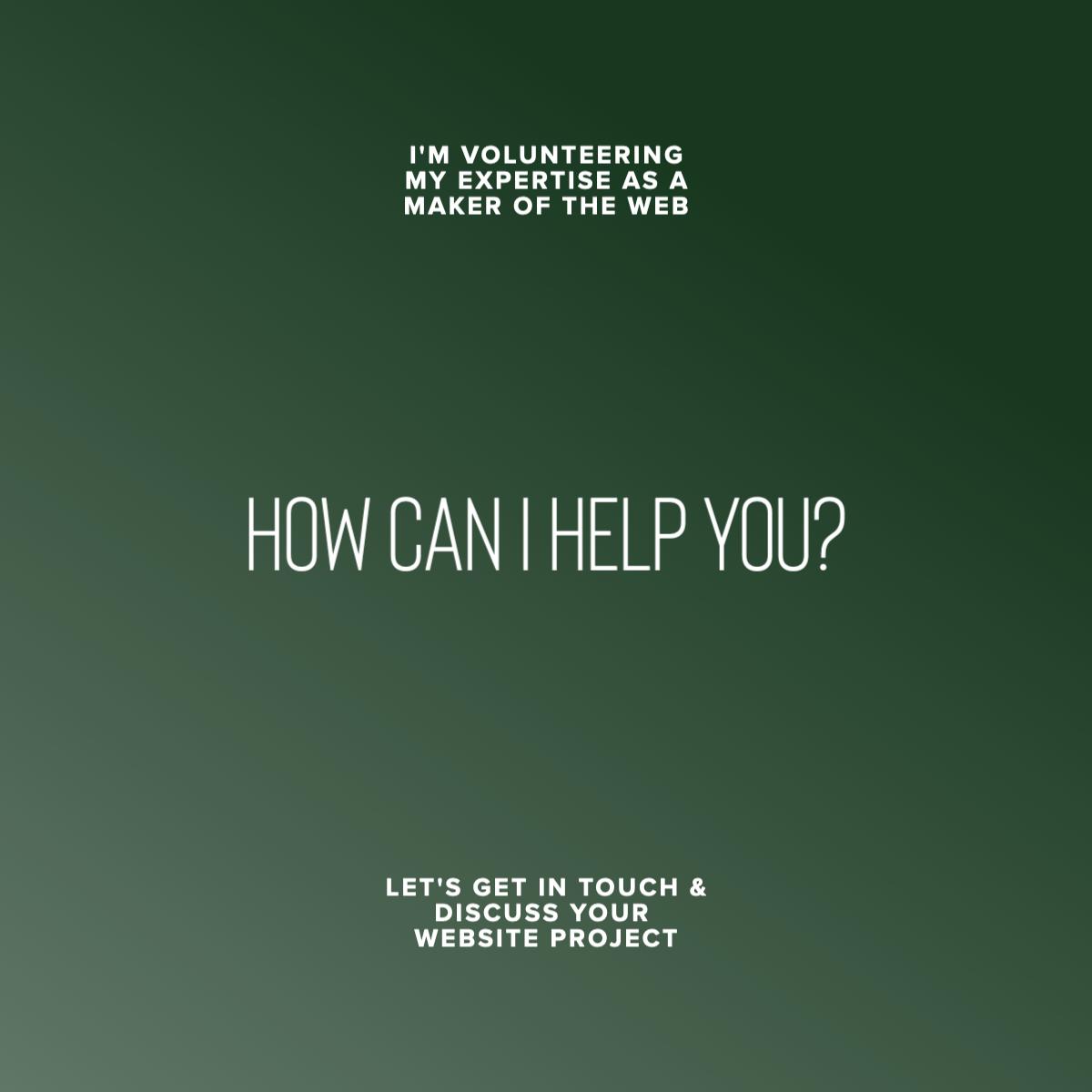 Volunteering for web developers & designers