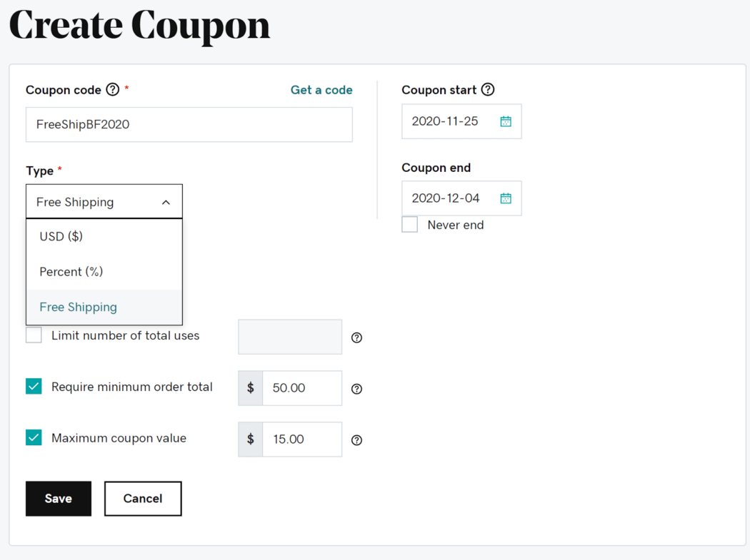 Add a free shipping coupon in Websites + Marketing