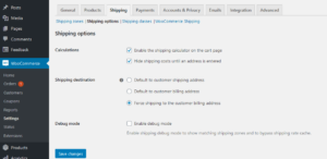 WooCommerce standard shipping setup shipping options