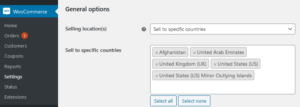 WooCommerce Standard Shipping Setup Countries