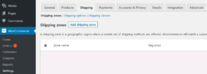 WooCommerce standard shipping setup add zone