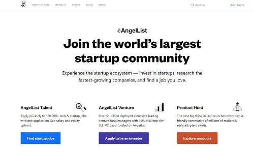 AngelList homepage