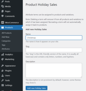 Create WooCommerce Pages Holiday Sale