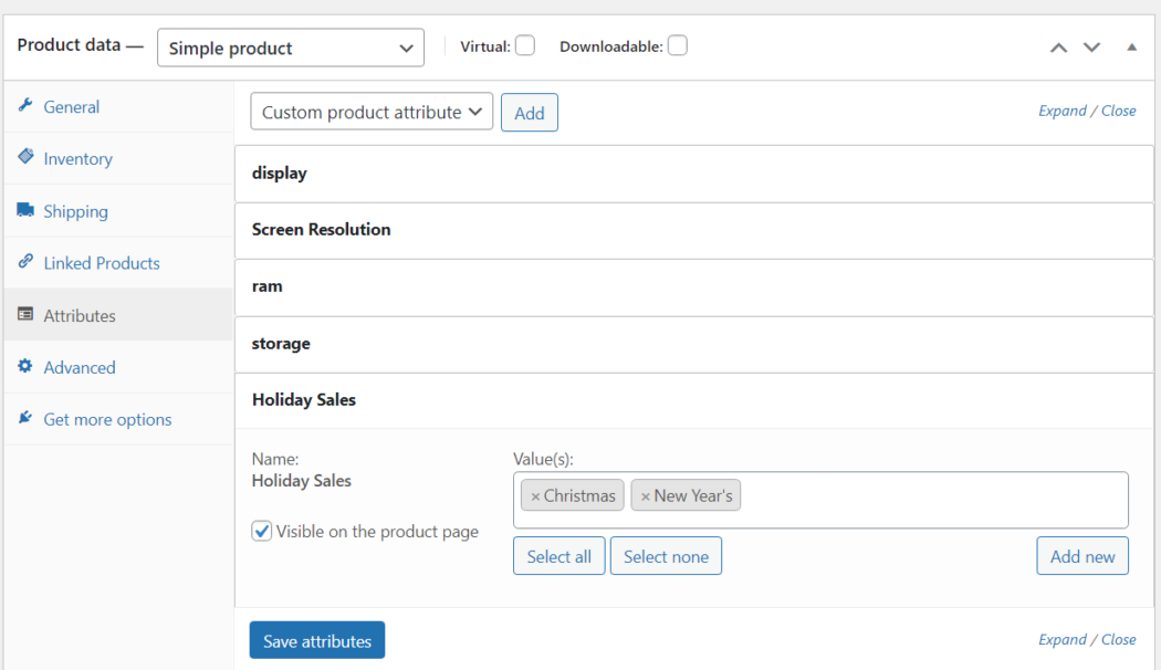 Create WooCommerce Pages Holiday Attribute