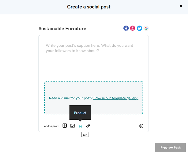 Social post creation page in Websites + Marketing Ecommerce