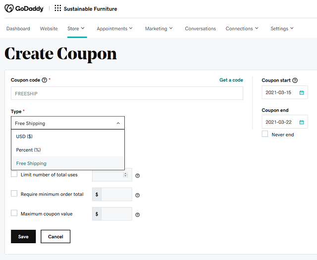 Create coupon page and associated options