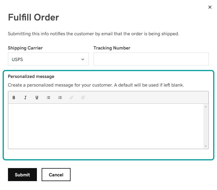 Fulfill order option in Websites + Marketing