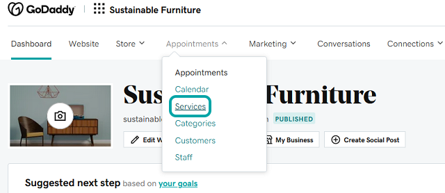 Appointments dropdown menu in Websites + Marketing