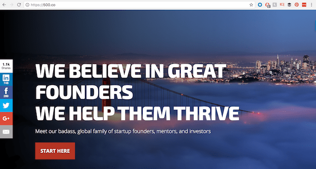 Screenshot of 500 Startups homepage with url displayed on top